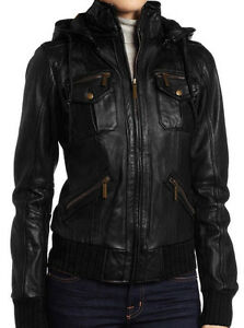 Women's Lambskin Detachable Hooded Leather Bomber Jacket