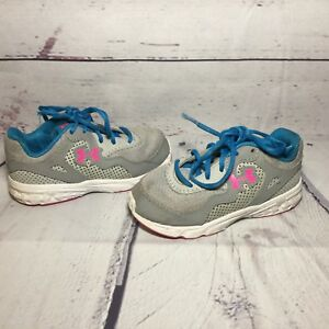 Under Armour Girls Toddlers Blue Pink Grey Shoes Size 8K UA 8 Girl Toddler Baby