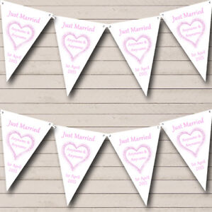 Baby Pink Just Married Wedding VenueReception Bunting Flag Banner