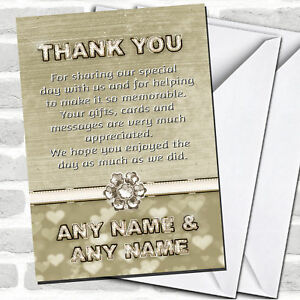Titanium Gold And White Wedding Thank You Cards