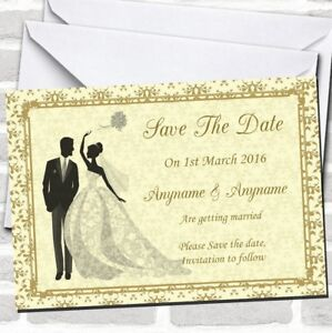Gold Yellow Classic Wedding Save The Date Cards
