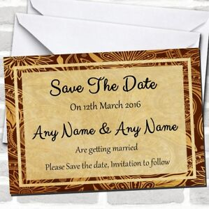 Vintage Brown Gold Postcard Style Wedding Save The Date Cards