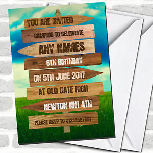 Rustic Wooden Signpost Camping Children#x27;s Party Invitations