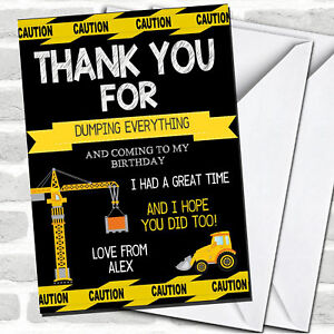 Black Dump Everything Digger Construction Birthday Party Thank You Cards