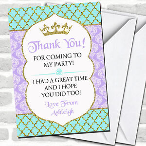 Blue Purple & Gold Princess Royal Party Thank You Cards