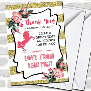 Gold Stripes Unicorn Party Thank You Cards