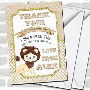 Lion Glitter Gold Party Thank You Cards