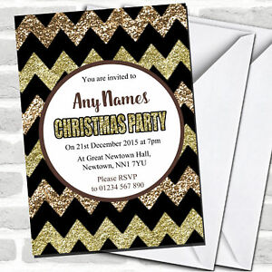 Chevrons Bronze & Gold Christmas Party Invitations