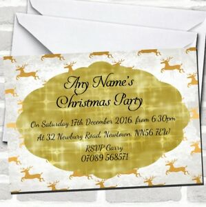 White Snowy Gold Reindeers Christmas Party Invitations