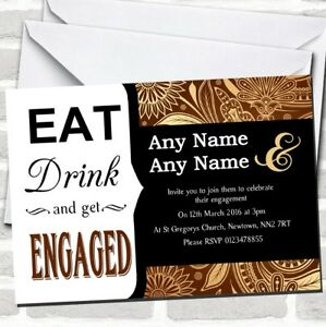 Vintage Brown Gold Eat Drink Engagement Party Invitations