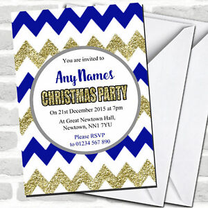 Chevrons Blue & Gold Christmas Party Invitations