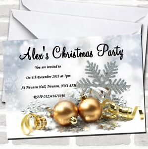 Gold Baubles Christmas Party Invitations