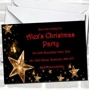 Gold Stars Christmas Party Invitations