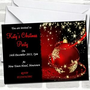 Red, Gold & Black Stunning Christmas Party Invitations