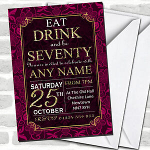 Pink & Gold Flowers 70th Birthday Party Invitations