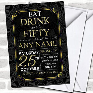 Black & Gold Flowers 50th Birthday Party Invitations