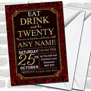 Red & Gold Flowers 20th Birthday Party Invitations