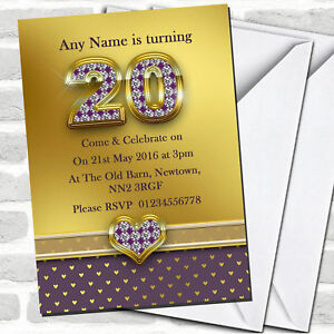 Gold Satin And Purple Hearts 20Th Birthday Party Invitations
