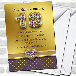 Gold Satin And Purple Hearts 18th Birthday Party Invitations