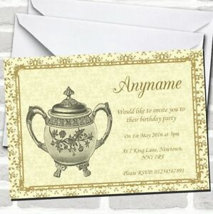 Gold Yellow Classic Birthday Party Invitations
