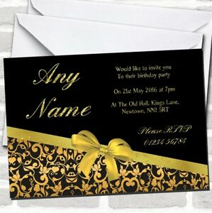 Classic Black And Gold Floral Birthday Party Invitations