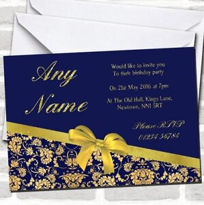 Classic Blue And Gold Damask Birthday Party Invitations