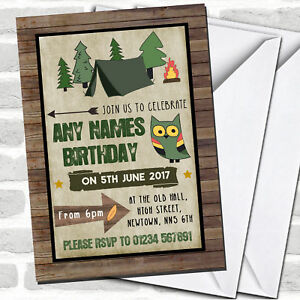 Wood Background Camping Children#x27;s Party Invitations