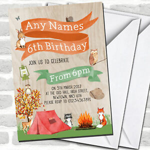 Woodland Forest Animals Camping Children#x27;s Party Invitations