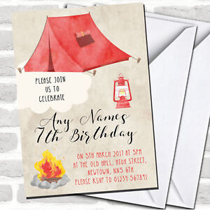 Watercolour Tent Camping Children#x27;s Party Invitations
