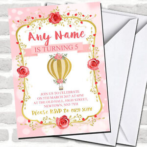 Pink Gold Hot Air Balloon Children's Birthday Party Invitations