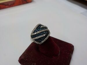 112 diamonds 10KT WHITE GOLD BLUE AND WHITE BEAUTIFUL DESIGNER SJ RING SIZE 6
