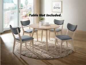 6pc Dining Chairs Grey Padded Fabric Curved Back Design Natural Tone Wood Frame
