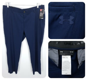 UNDER ARMOUR Men's 42x32 Golf Athletic Pants Straight Navy Blue IS2B5