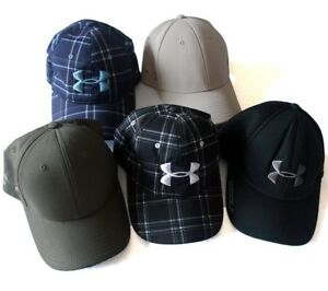 LOT OF 5 Authentic UNDER ARMOUR Hat Cap HeatGear Baseball Golf Mens Size ML