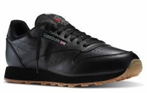 Reebok Classic Leather Black Gum Sole Fashion Mens Shoes Sneakers 49798 Sizes