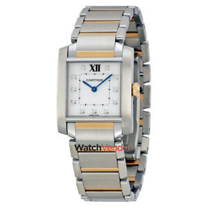Cartier Tank Francaise Steel and 18kt Pink Gold Ladies Watch WE110005