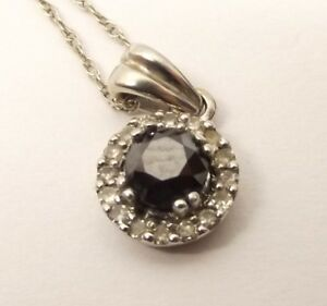 14K White Gold Diamond Cluster Pendant Necklace Black Diamond Center .25 Carat