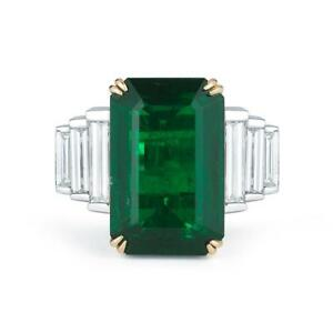 Magnificent Natural 13.96 ct  EMERALD AND DIAMOND Plat18 K GOLD RING  GIA LOOK