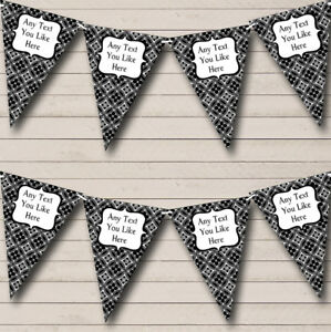 Black And White Personalised Engagement Bunting Party Banner