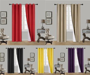 INSULATED FOAM LINED THERMAL BLACKOUT GROMMET WINDOW CURTAIN K92 1PC Panel $8.50
