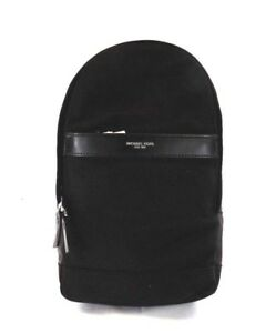 NEW MEN'S MICHAEL KORS KENT BLACK NYLON LEATHER SLINGPACK PACK BAG BACKPACK