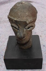 Rare Vintage Abstract Head Bust Bronze Handmade Sculpute Artist Signed Brutalist