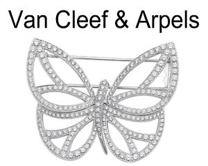 Van Cleef and Arpels 18K White Gold and Diamond Butterfly Clip Brooch