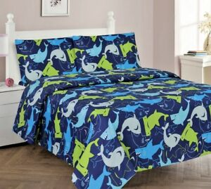 3/4 Piece Kids/Teens Fitted Flat SHEET Pillow Cases Set Ocean Blue Sharks