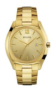Bulova Men's 97B146 Quartz Champagne Dial Gold Tone Bracelet 42.5mm Watch