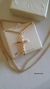 Men's 14k Gold Cross Pendant Crucifix Necklace. GB 24