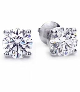 0.50CTW ROUND CUT NATURAL DIAMONDS STUD EARRINGS 14K WHITE GOLD $1400 Value