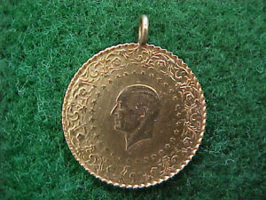 Gold Turkish Coin Pendant  Charm Dated 2013