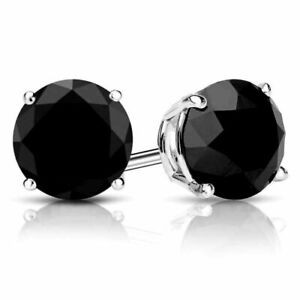 4Ct Brilliant Created Black Diamond Solitaire Stud Earrings Solid 14K White Gold