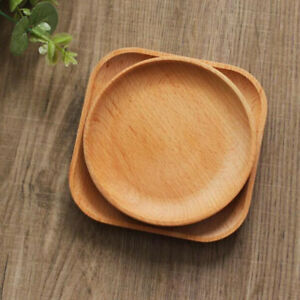 Wooden Round Plate Food Fruit Dish Snack Serving Tray Salad Bowl Platter